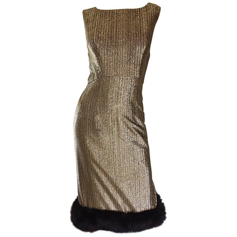 Amazing 1960s Jay Herbert Gold Silk Lurex Mink Vintage Sleveless Cocktail Dress For Sale