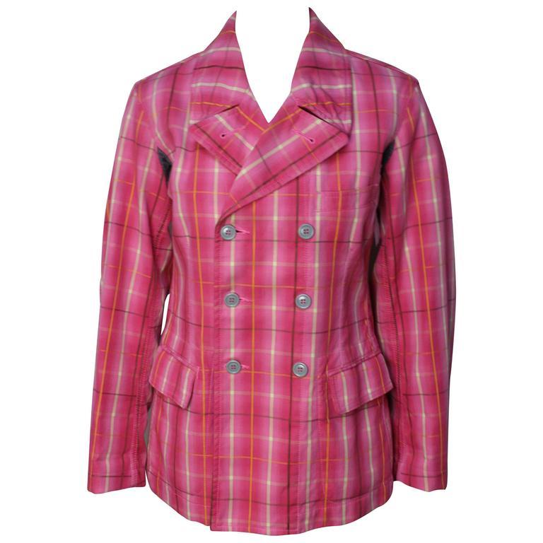 Comme Des Garcons Homme Plus Pink Plaid Jacket For Sale