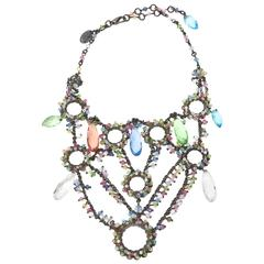 Signed Erickson Beamon Swarovski Crystals Tiered Collar/Bib Necklace