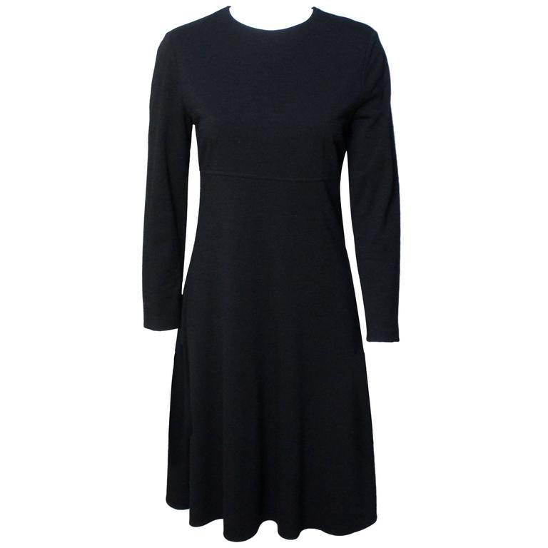 Calvin Klein Collection Black Wool Jersey Dress