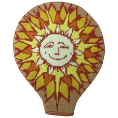 Unique Needlepoint Sun Beam Tennis Racquet Cover c 1970s