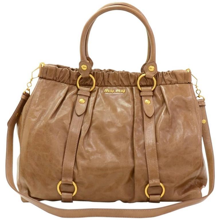 ec93a7ebe9f9 Miu Miu Vitello Lux Brown Leather Large 2way Bag at 1stdibs