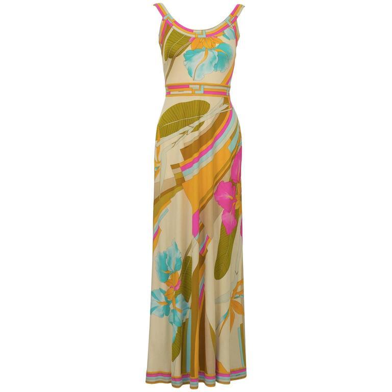 1970's Leonard Pastel Print Maxi Dress For Sale