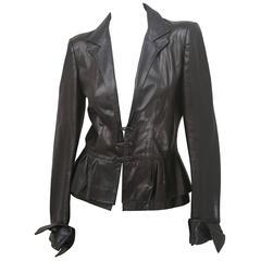 Yves Saint Laurent Leather Peplum Jacket