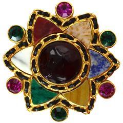 Chanel Vintage '95 Multi-Color Gripoix & Crystal Star Brooch