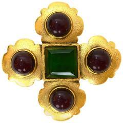 Chanel Vintage '87 Gold & Gripoix Brooch