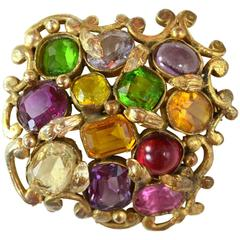 Chanel Couture Vintage 50s/60s Multi-Color Gripoix and Jewel Cluster Brooch