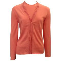 Emilio Pucci Coral Cashmere Blend Sweater Set - XS - 1990's