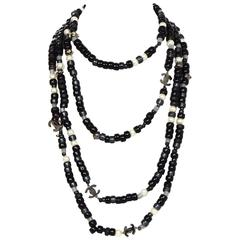 Chanel Grey & Black Beaded CC Long Strand Necklace