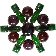 Chanel Vintage '93 Red & Green Gripoix Cluster Star Brooch