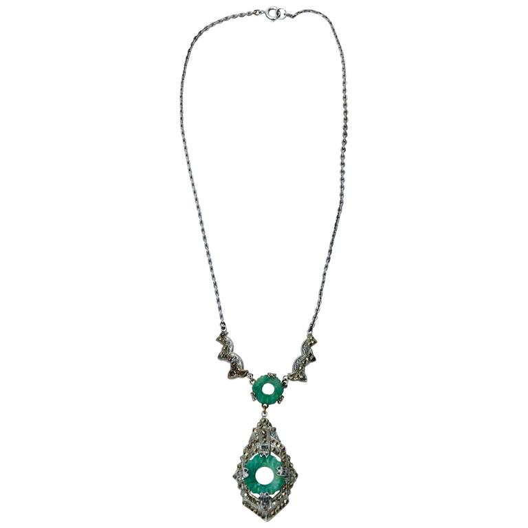 Art Deco Marquisite and Jade Like Stone Necklace                              1