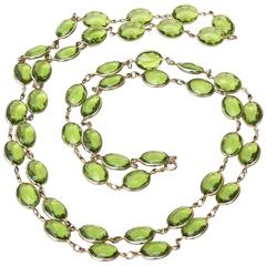 Strand of Chartreuse Glass Chain Necklace/ Chanel Style