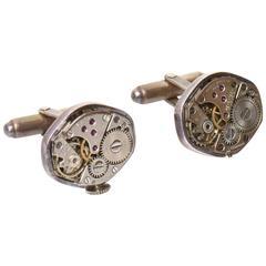 Pair of Sterling Silver Watch Part Cufflinks / SATURDAY SALE