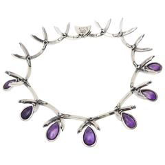 Antonio Pineda Sterling Silver and Amethyst Sculptural Collar Necklace