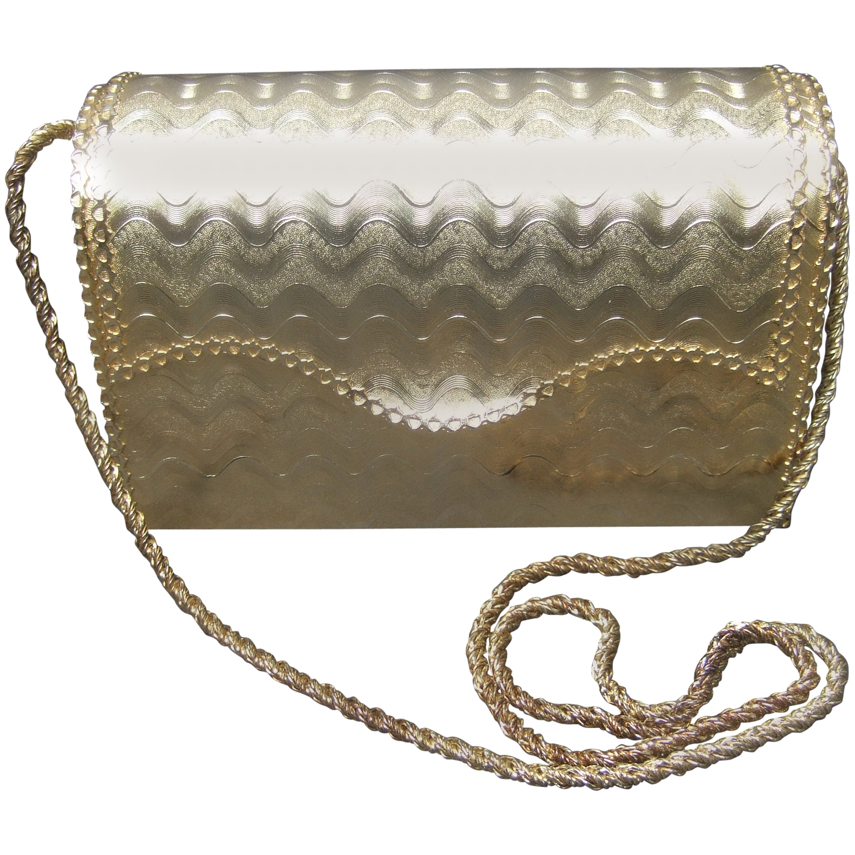 Saks Fifth Avenue Gilt Metal Lady Bug Evening Bag Made In Italy C 1970 dd3BFD