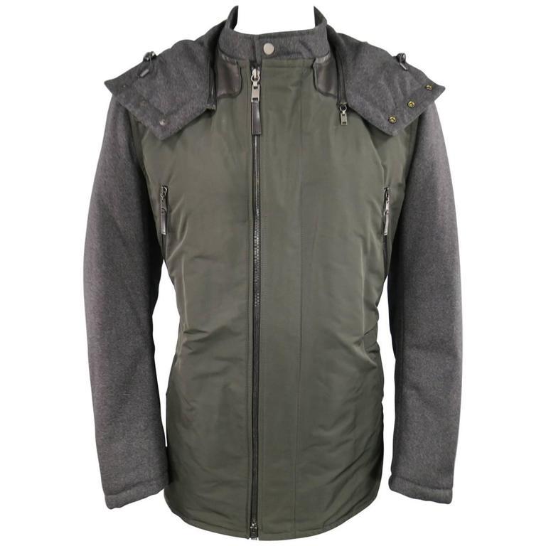 LANVIN Men's 42 Charcoal & Olive Wool Sleeved Detachable Hood Zip Coat