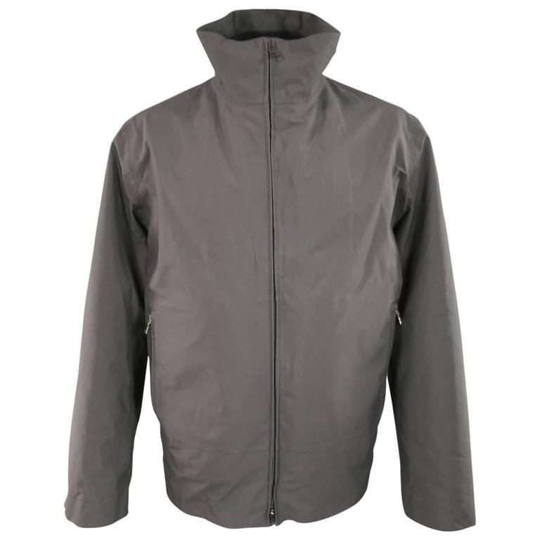 7ba26430 PRADA Men's 46 Charcoal Nylon High Collar Detachable Bomber Liner Jacket