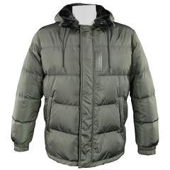 PRADA Men's 44 Green Quilted Detachable Hood Puff Parka Jacket