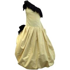 Christian Dior Vintage Couture Yellow One Shoulder Cocktail Dress