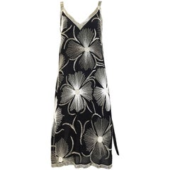 1980s Black and White Floral Silver Beads Flapper Dress