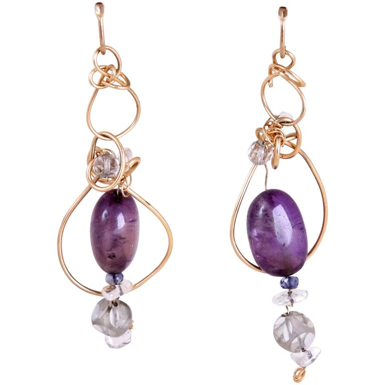 Kazuko 14k Gold Wire Wrapped Dangling Earrings w/Amethyst & Quartz Crystal Beads For Sale