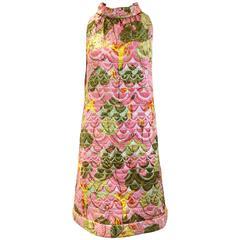 1960 sleeveless  metallic brocade summer dress
