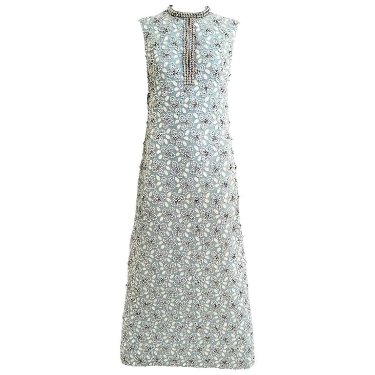 1960s Powder Blue Beaded Sleeveles Maxi Cocktail Dress with Rhinestones Collar