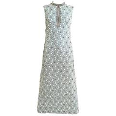 1960s Powder Blue Beaded Sleeveles Maxi Cocktail Dress with Rhinestones Collar