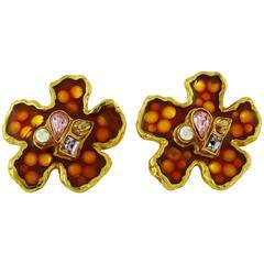 Christian Lacroix Vintage Enamel Flower Clip-On Earrings