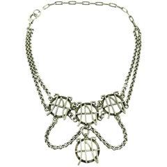 Jean Paul Gaultier Vintage Silver Tone Logo Necklace