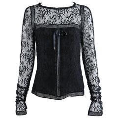 Chanel 07C Black Lace Runway Top Shirt