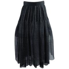 Chanel 09P Black Mesh Skirt with CC Logo Embroidered Trim