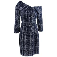 Chanel 14P Runway Navy and White off Shoulder Skirt Suit