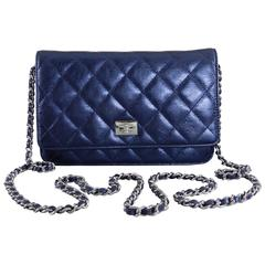 Chanel Quilted Wallet on a Chain WOC metallic Navy Silver Hardware