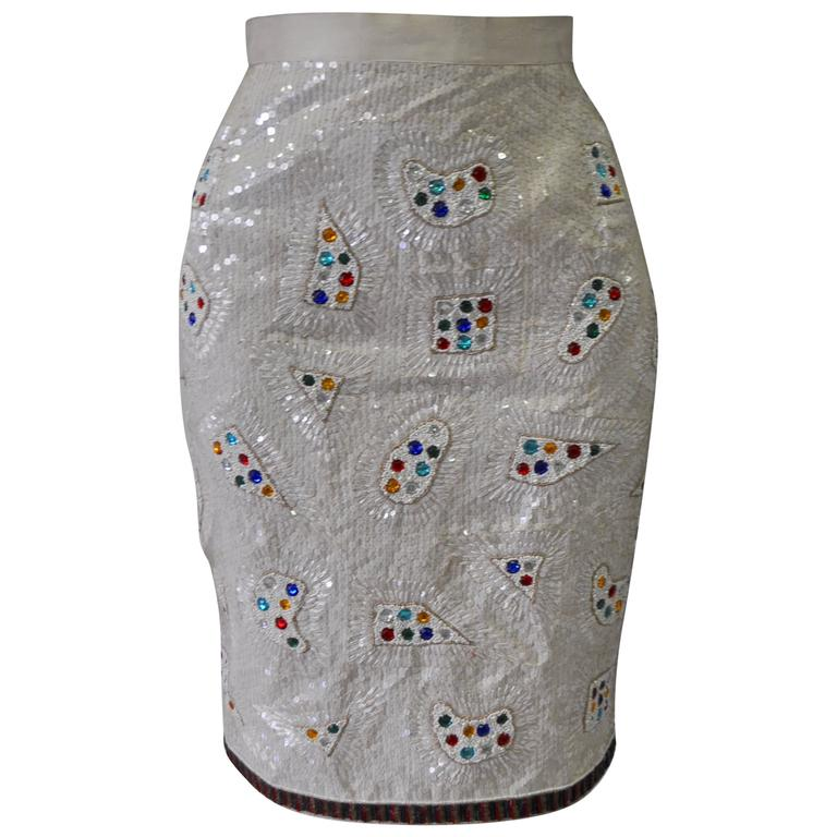 Rare Ella Singh Embroidered Sequined Silk Skirt