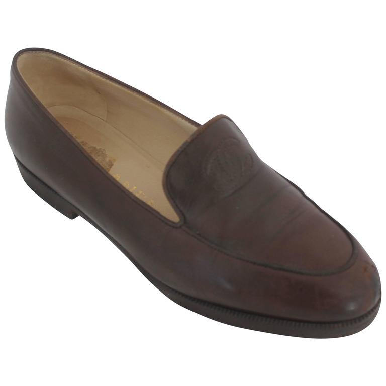 "Chanel Brown Leather Loafers with Stitched ""CC"" - 37"