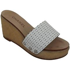 Chanel White Plastic Wedges with Tan Textured Rubber - 36