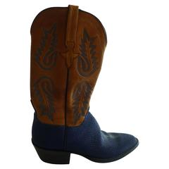 Lucchese Stingray and Tooled Leather Hand Made Cowboy Boots (8B)