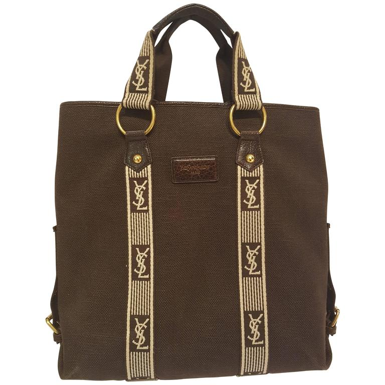 Yves Saint Laurent brown textile bag white logo