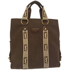 Yves Saint Laurent brown textile bag white logo