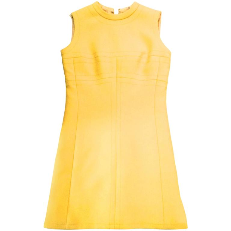 Vintage 1960's Yellow Sleeveless A-Line Dress
