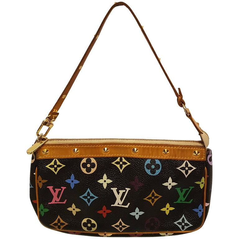 Louis Vuitton Black Multicolore Canvas Takashi Murakami Pochette Accessoires