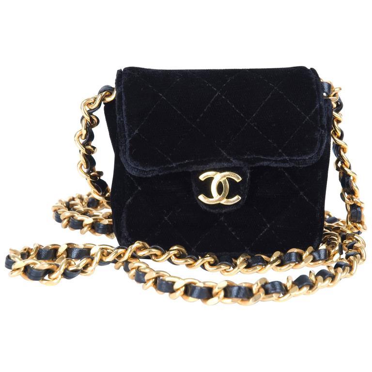 Rare Vintage Chanel Micro Mini Black Velvet Gold HW Flap Bag 1