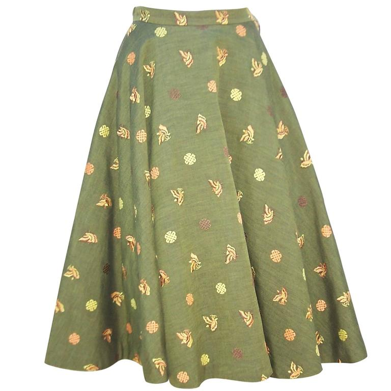 1950's Asian Inspired Full Circle Skirt With Embroidered Butterflies  1