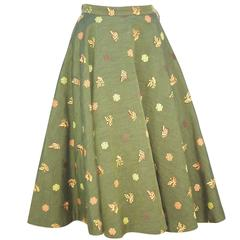 1950's Asian Inspired Full Circle Skirt With Embroidered Butterflies