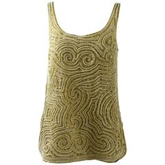 1970s Halston Hand Embroidered Beads &Golden Pearl Organza Sleeveless Tunic Top