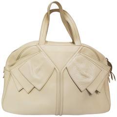 Yves Saint Laurent white leather bag