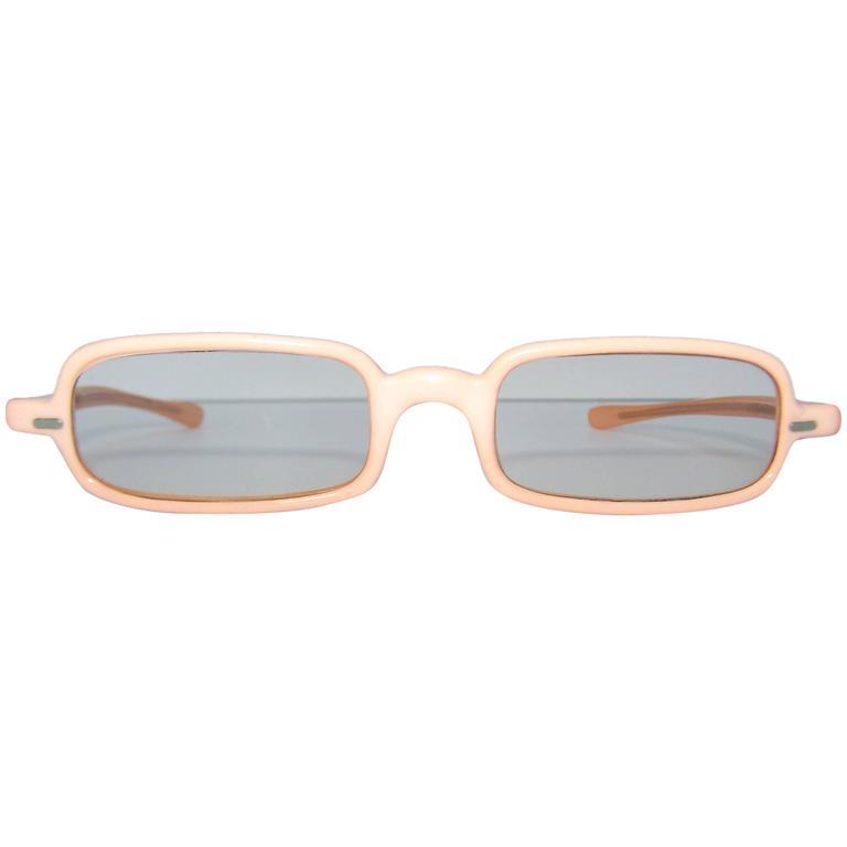 1960's Mod French Fleshtone Peach Sunglasses For Sale