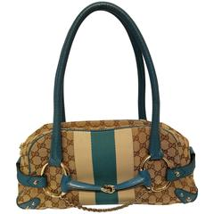 Gucci horsebit monogram turquoise bag