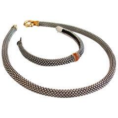 Scott Keating Sterling Silver Mesh + 18k Gold Choker + Citrine Bracelet Set